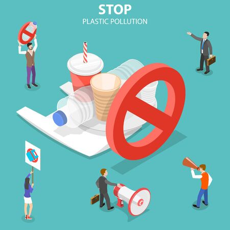 Isometric flat vector concept of stop plastic pollution, polythene disposable garbage problem.