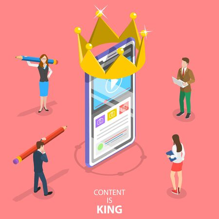 Isometric flat vector concept of content is king, copywriter, engaging content creating, blog writing.