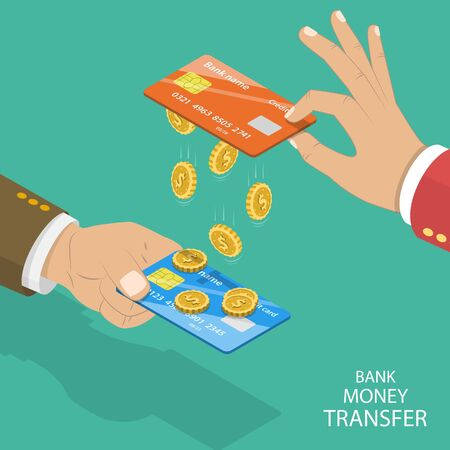 Isometric flat vector concept of online bank tranfer, online banking, card to card money sending.
