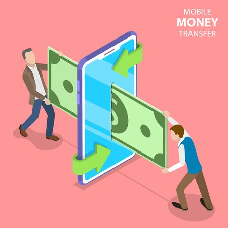 Isometric flat vector concept of mobile money transer, online payment and banking, financial transaction, web shopping.