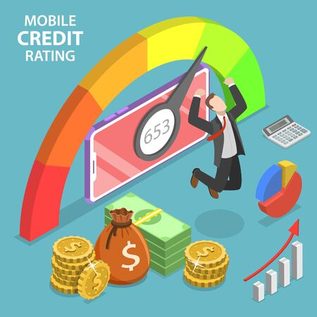 Isometric flat vector concept of mobile credit rating app, personal credit score, good index of credit history. Иллюстрация