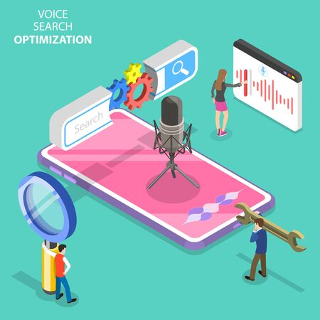 Isometric flat vector concept of voice search optimization, voice commands, SEO, keyword research.