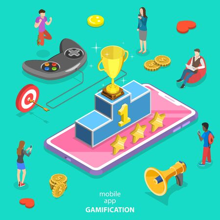 Isometric flat vector concept of interactive content for audience engaging, mobile app gamification, encouraging customers to earn rewards.