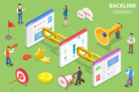 Isometric flat vector concept of backlink strategy, SEO link building, digital marketing campaign.