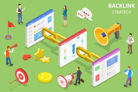 Isometrisches flaches Vektorkonzept der Backlink-Strategie, SEO-Linkaufbau, digitale Marketingkampagne. Vektorgrafik