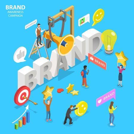 Concept de vecteur plat isométrique de campagne de notoriété de la marque.