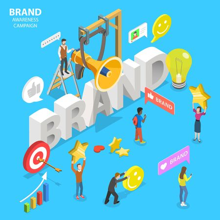 Isometric flat vector concept of brand awareness campaign. Иллюстрация