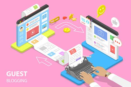 Isometric flat vector concept of guest blogging, commercial blog posting and copywriting, content marketing strategy.