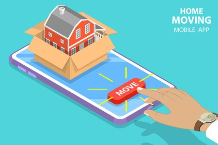 Isometric flat vector concept of home moving mobile order, relocation service, fast delivery.