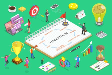 Isometric flat vector concept of parts of hackathon.