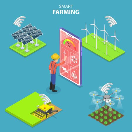 Isometric flat vector concept of smart farming, agricultural automation and robotics, farm data analysis and management.