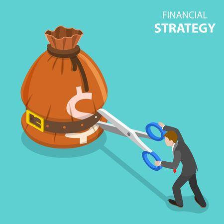 Concept de vecteur plat isométrique de stratégie de croissance et objectif financier, gestion des investissements, augmentation des revenus.