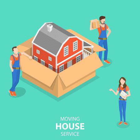 Isometric flat vector concept of house moving and relocation service, fast delivery. Ilustração