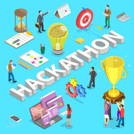 Isometric flat vector concept of hackathon, hack marathon coding event, app and software development.