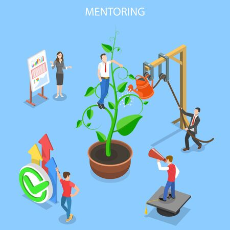 Isometric flat vector concept of mentoring, guide to reach a goal.