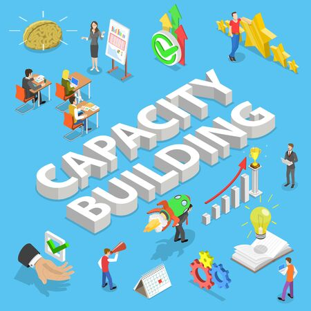 Isometric flat vector concept of capacity building, process of skills obtaining, improving and retaining, process of a organization and personal development.