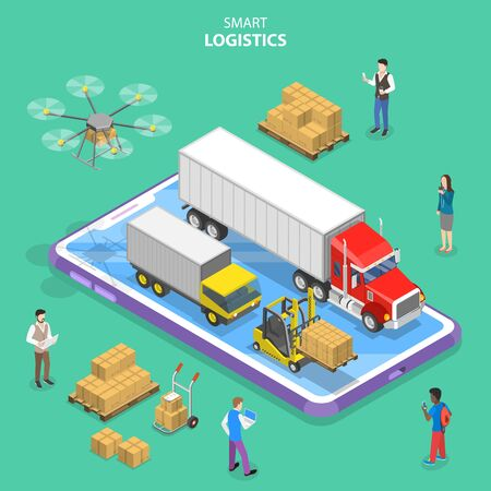 Isometric flat vector concept of smart logistics and transportation. Stok Fotoğraf - 132120264