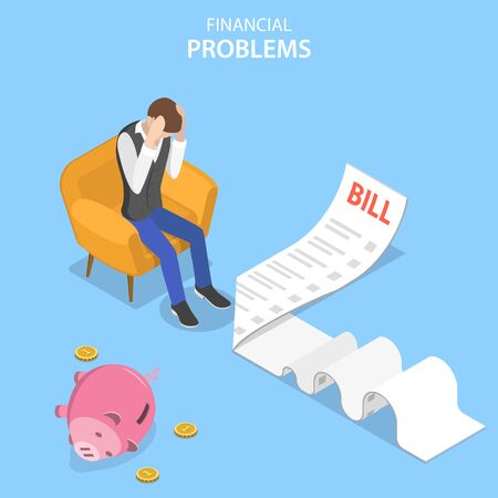 Isometric flat vector concept of financial problems, business crisis and bankruptcy, upaid loan debt.