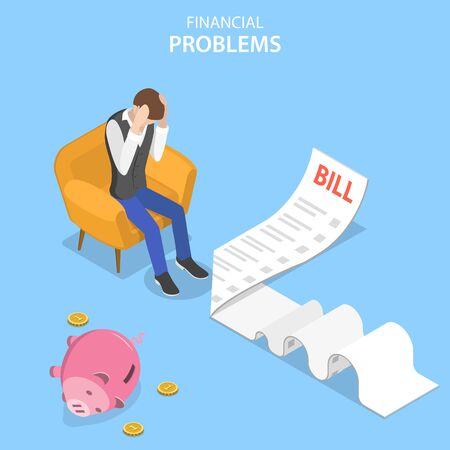 Isometrisches flaches Vektorkonzept von Finanzproblemen, Unternehmenskrise und Konkurs, unbezahlten Kreditschulden. Vektorgrafik
