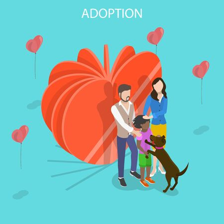 Isometric flat vector concept of child adoption, physical, emotional.