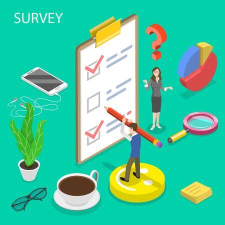 Concetto di vettore piatto isometrico di sondaggio, valutazione e feedback dei clienti, test di qualità, ricerca sulla soddisfazione dei consumatori.