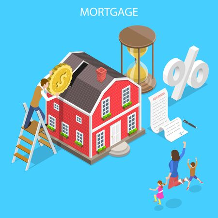 Isometric flat vector concept of mortgage, real estate deal, home loan payment.