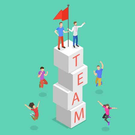 Isometric flat vector concept of successful teamwork, team goal achievement and growth.