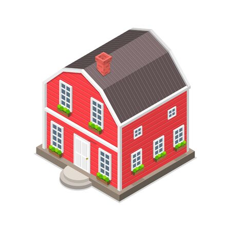 Isometric flat vector concept of a red house isolated on white. Foto de archivo - 132120454