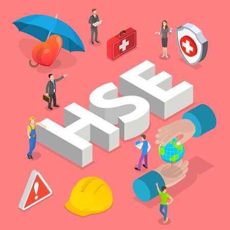 Isometric flat vector concept of HSE, health safety environment. Ilustracja