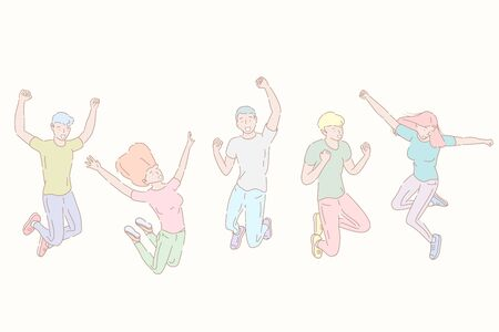 Hand drawn style vector illustration of jumping happy people, team success.