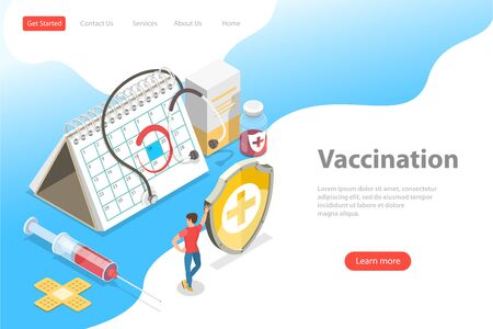 Isometric flat vector landing page template of vaccination campaign. 向量圖像