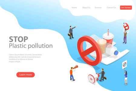 Isometric flat vector laning page template of stop plastic pollution. Vektoros illusztráció