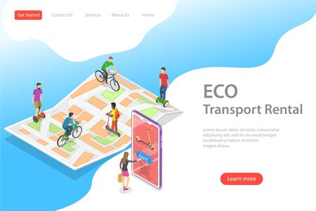 Isometric flat vector landing page template of city eco transportation, rent online service, urban eco-friendly transport.