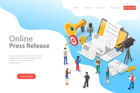 Isometric flat vector landing page template of internet press release.