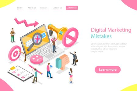 Isometric flat vector landing page template of digital marketing mistakes.