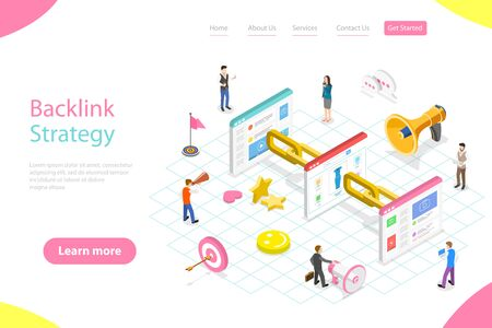 Isometric flat vector landing page template of backlink strategy, link building.  イラスト・ベクター素材