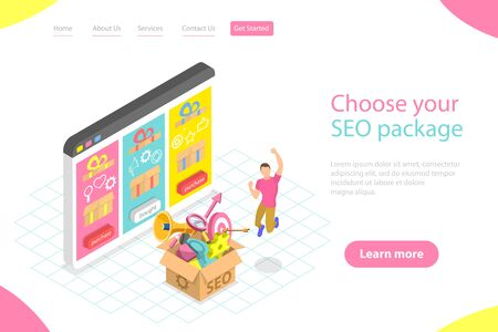 Flat isometric vector landing page template of SEO package choosing.