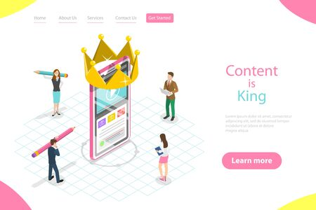 Isometric flat vector landing page template of content is king, copywriter.