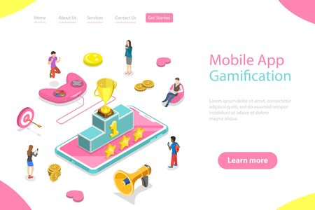 Isometric flat vector landing page template of interactive content for audience engaging, mobile app gamification, encouraging customers to earn rewards.