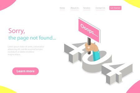 Isometric flat vector landing page tempate of 404 error, page not found.