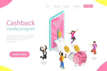 Isometric flat vector landing page template of cash back, loyalty program.