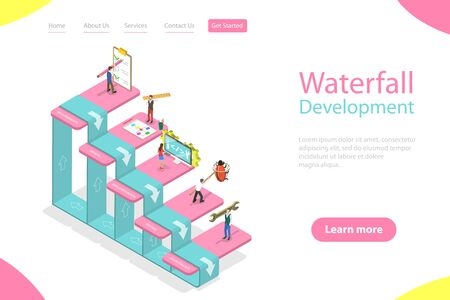 Plantilla de página de destino de vector plano isométrico de metodología de cascada, desarrollo de productos de software, enfoque de diseño de ingeniería con pasos: requisitos, diseño, implementación, pruebas, mantenimiento.