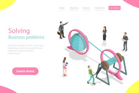 Isometric flat vector landing page template of soloving business problem. Иллюстрация