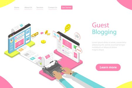 Isometric flat vector landing page template of guest blogging.