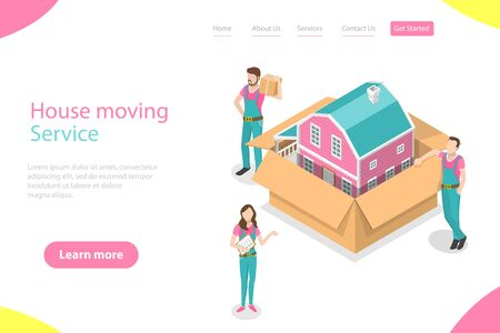 Isometric flat vector landing page template of house moving and relocation service, fast delivery. 写真素材 - 130067160
