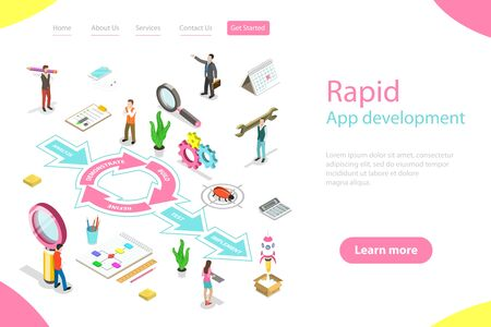 Isometric flat vector landing page tempate of rapid software application develompment model, RAD, engineering design approach with steps analysis, demonstrate, build, refine, testing, implementation.