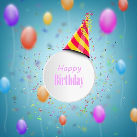 Happy Birthday Composition With Blurred Background. Vector Illustration.