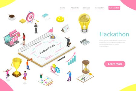 Isometric flat vector landing page template of parts of hackathon which are creativity, strategy, timing, collaboration, software development, goal, success.