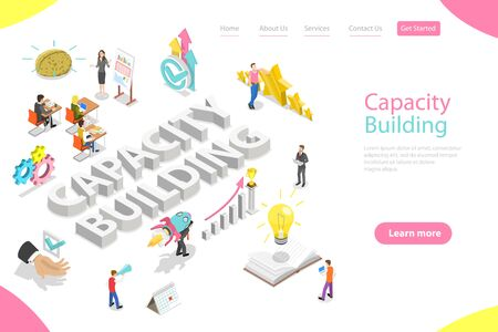 Isometric flat vector landing page template of capacity building.