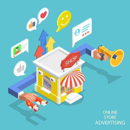 Isometric flat vector concept of store advertising campaign, digital marketing